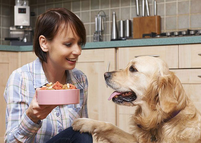 woman with golden retriever showing him some snacks