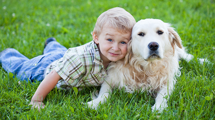 Dog and little boy lying on the grass