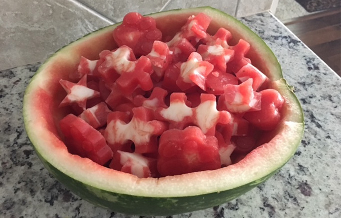 Frosty Watermelon-Yogurt Treats In Scooped Out Watermelon Half