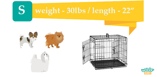 """3 small dogs near a 22"""" S size kennel"""