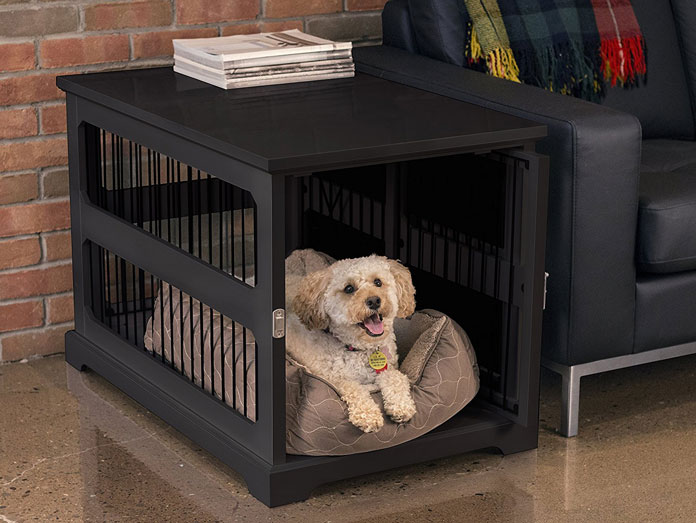 puppy in a table end crate with a cute pillow
