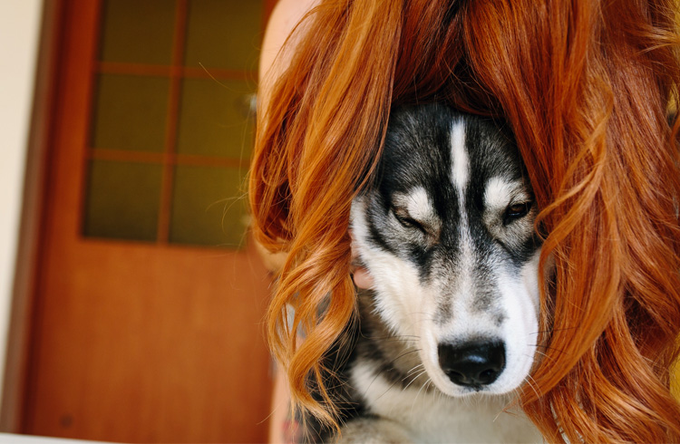 Image of dog and red haired woman