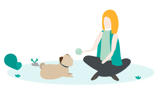 sitting with a dog illustration