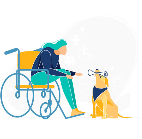 dog helping a girl in a wheelchair illustration