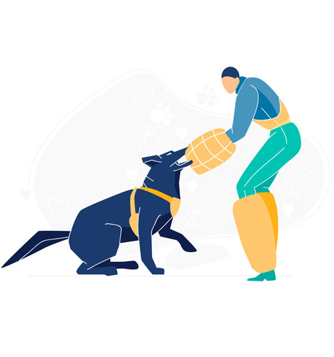 illustration of a police dog training