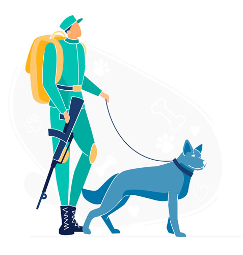 illustration of a soldier and a military dog
