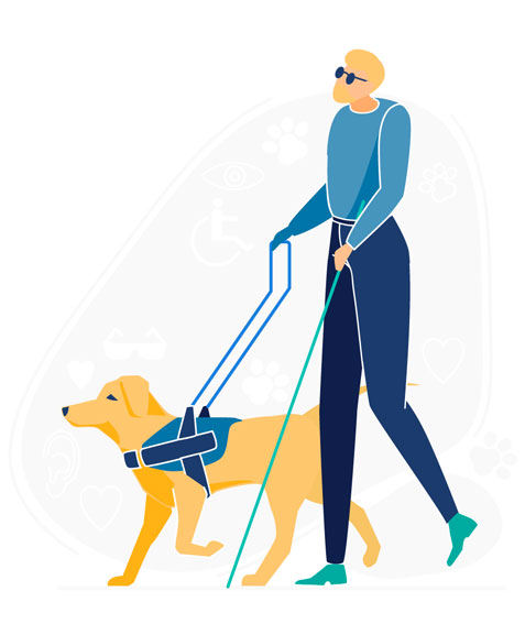 illustration of guide dog with blind person