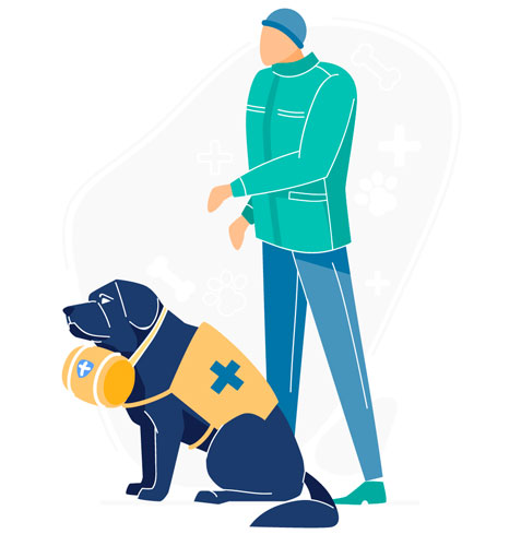 illustration of rescue dog