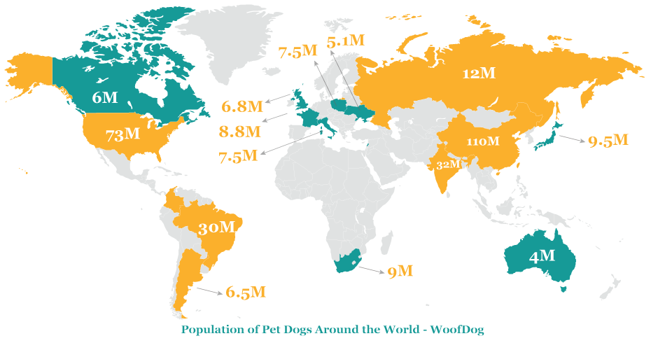 Map illustration of Population of Pet Dogs Around the World