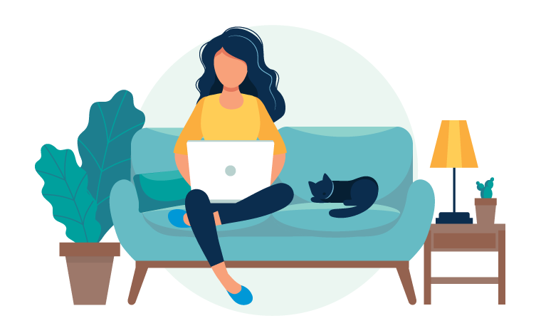 illustration of a cat sleeping on sofa next to girl
