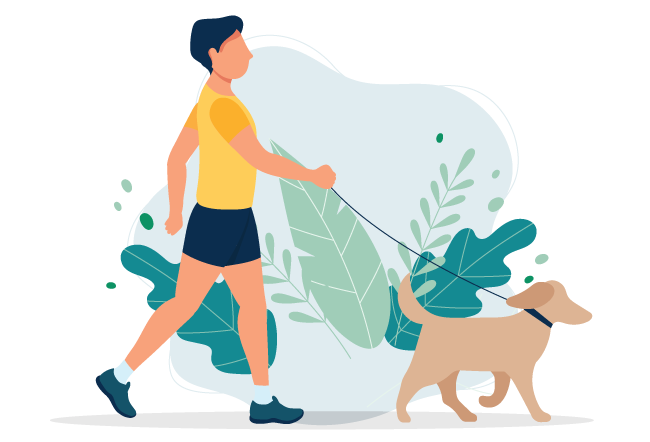 illustration of a man taking dog for a walk